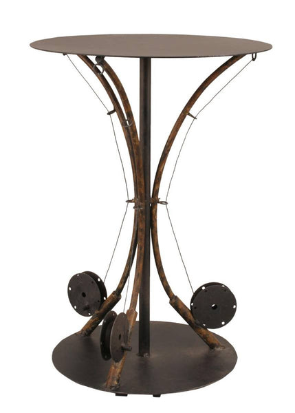 Our Rustic Fly Fishing Pole Metal Accent Table features 3 fishing rods with reels holding up the table top and an expressive piece for rustic cabin or home