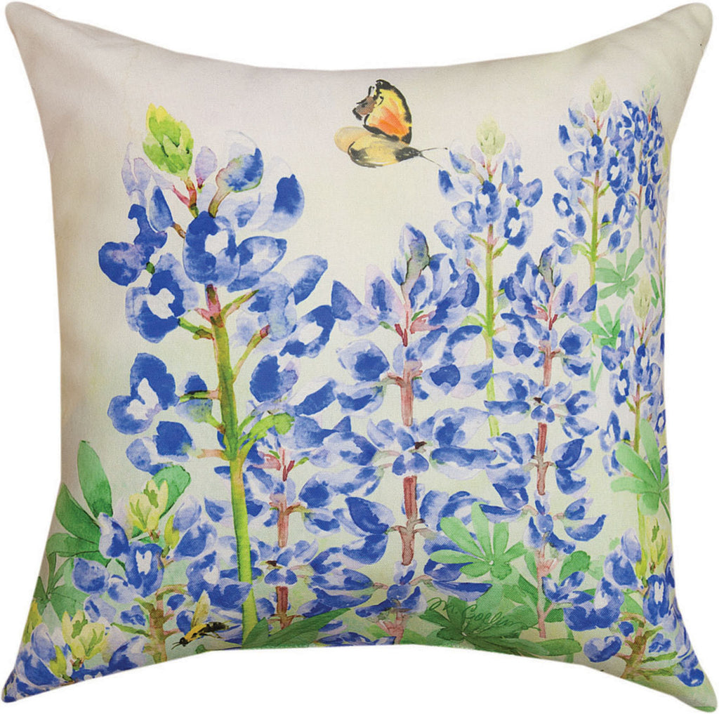 "Blooming Blue Bonnets Indoor/Outdoor Pillows, 18"" (Set of 2"
