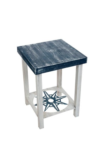 Great as an end table, lamp table or entertaining table, our Navy Blue and White Square Iron and Wood End Table with Nautical Compass Accent will look great in your home or covered patio.