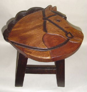 Horse Head Hand Carved Wooden Footstool