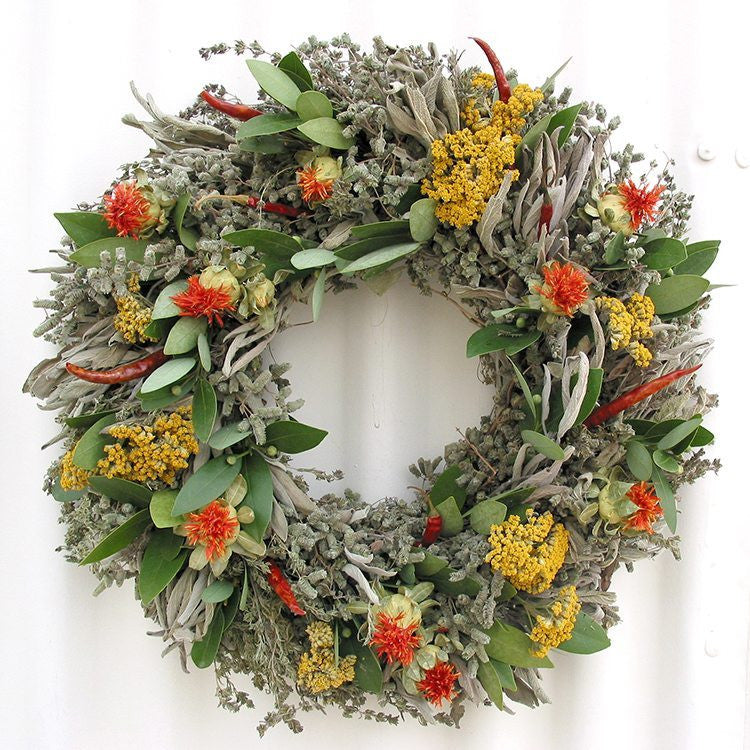 Safflower and Herb Natural Dried and Preserved Wreath – 16""