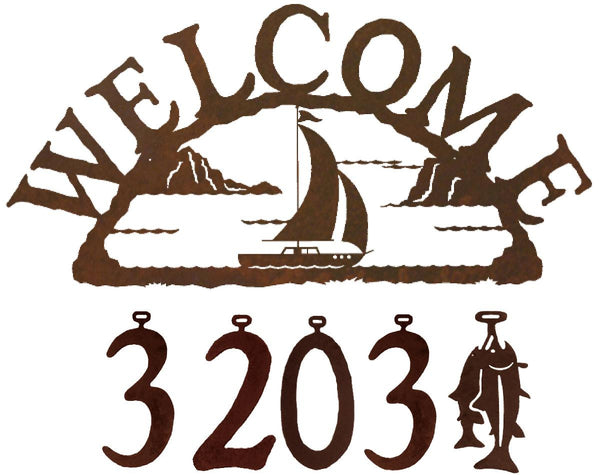 Sailboat Handcrafted Metal Welcome Address Sign - Beach Series