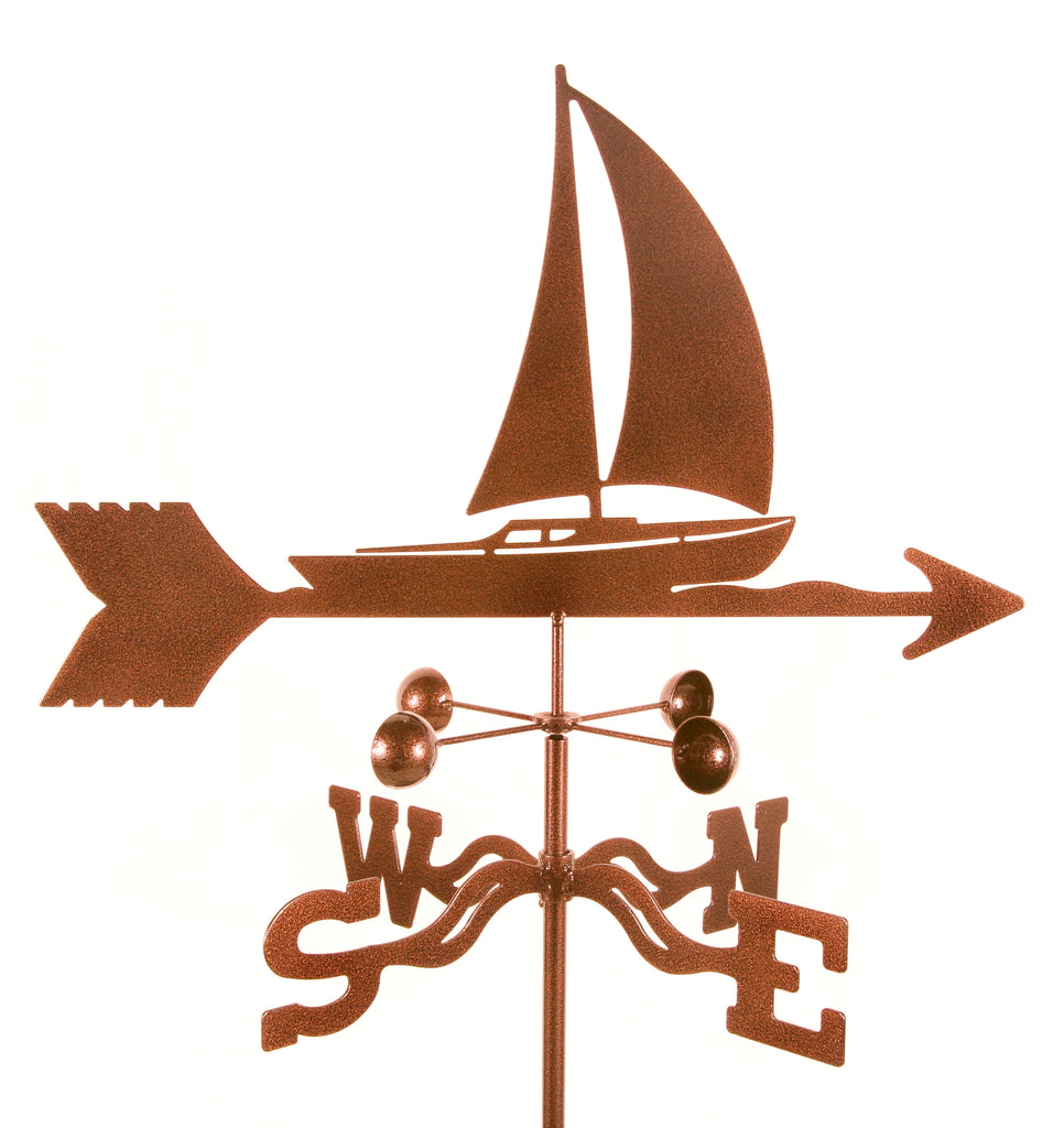 Sailboat Nautical Rain Gauge Garden Stake Weathervane