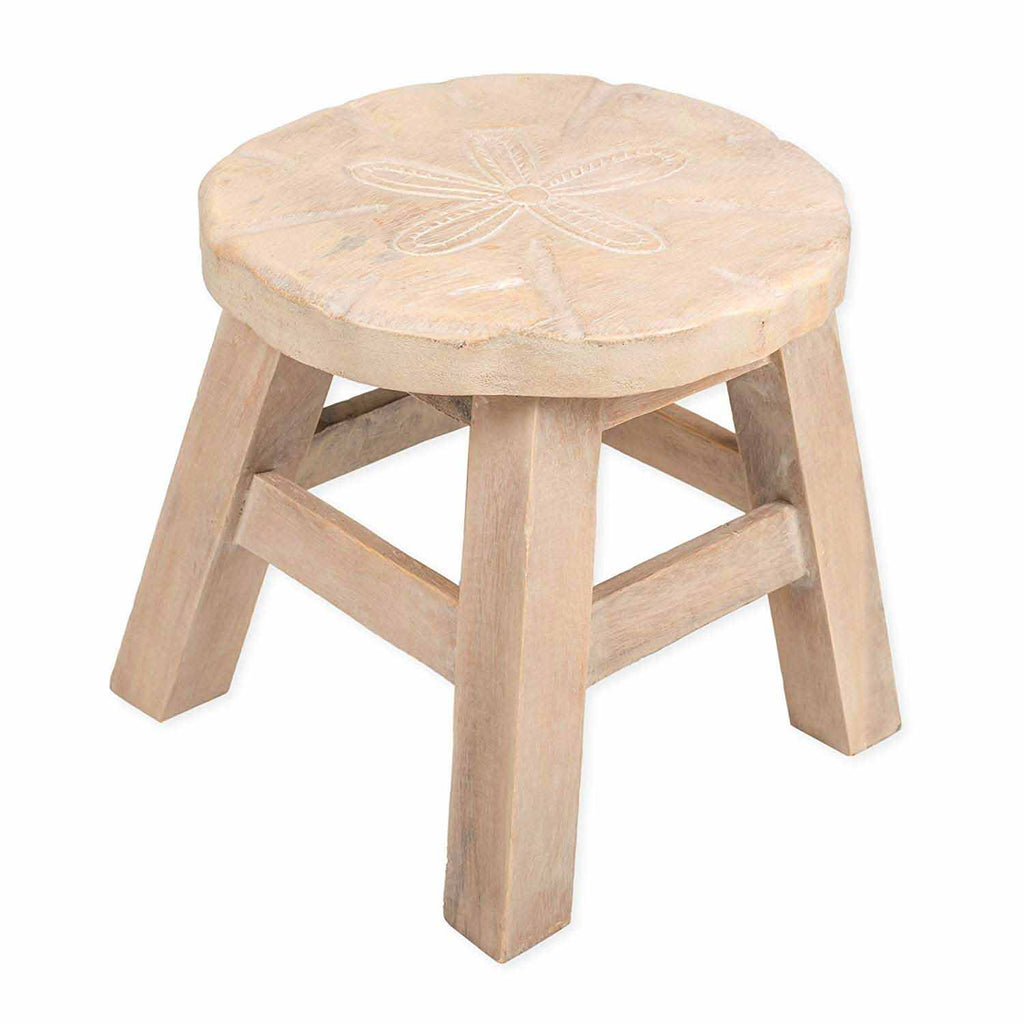 Our Sand Dollar Handcrafted Wood Stool Footstool is sturdy and great for adults and children