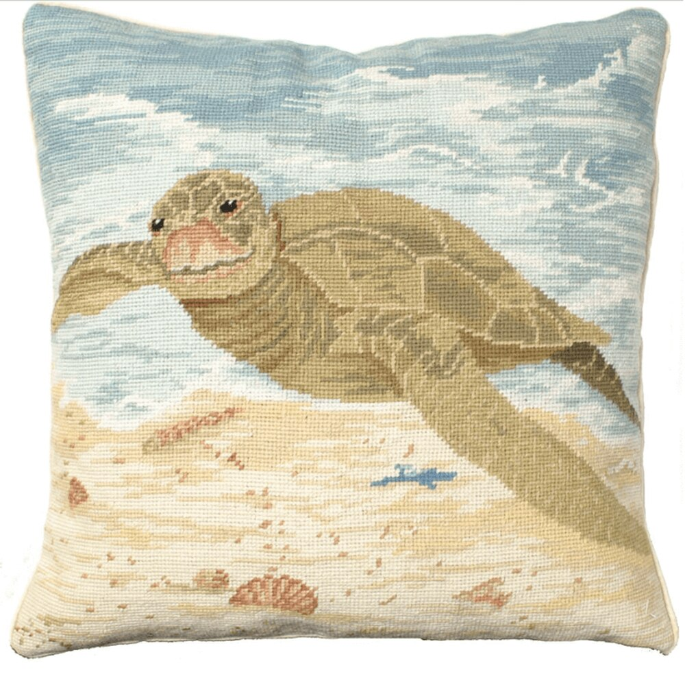 "Our Sea Turtle Handcrafted Needlepoint Throw Pillow is 18"" square and comes with your choice of polyester filling or, for an upcharge, you can have your pillow stuffed with down (duck) feathers"