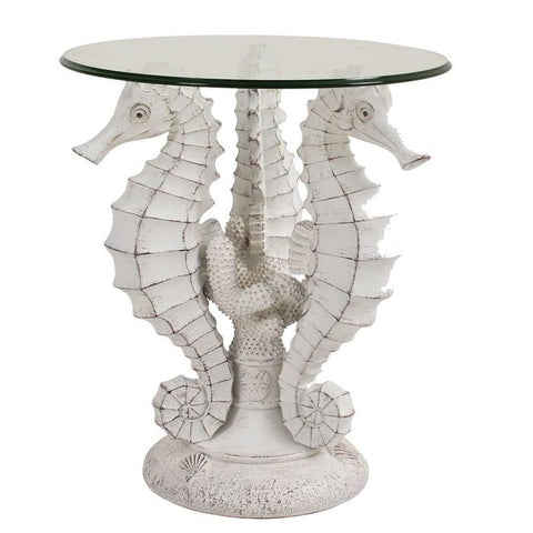 Our Seahorse Coastal Cottage Accent Side Table is great for indoor and outdoor entertaining