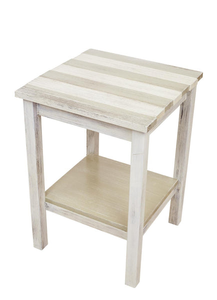 Seaside Cottage Stripe Wood Accent Side Table
