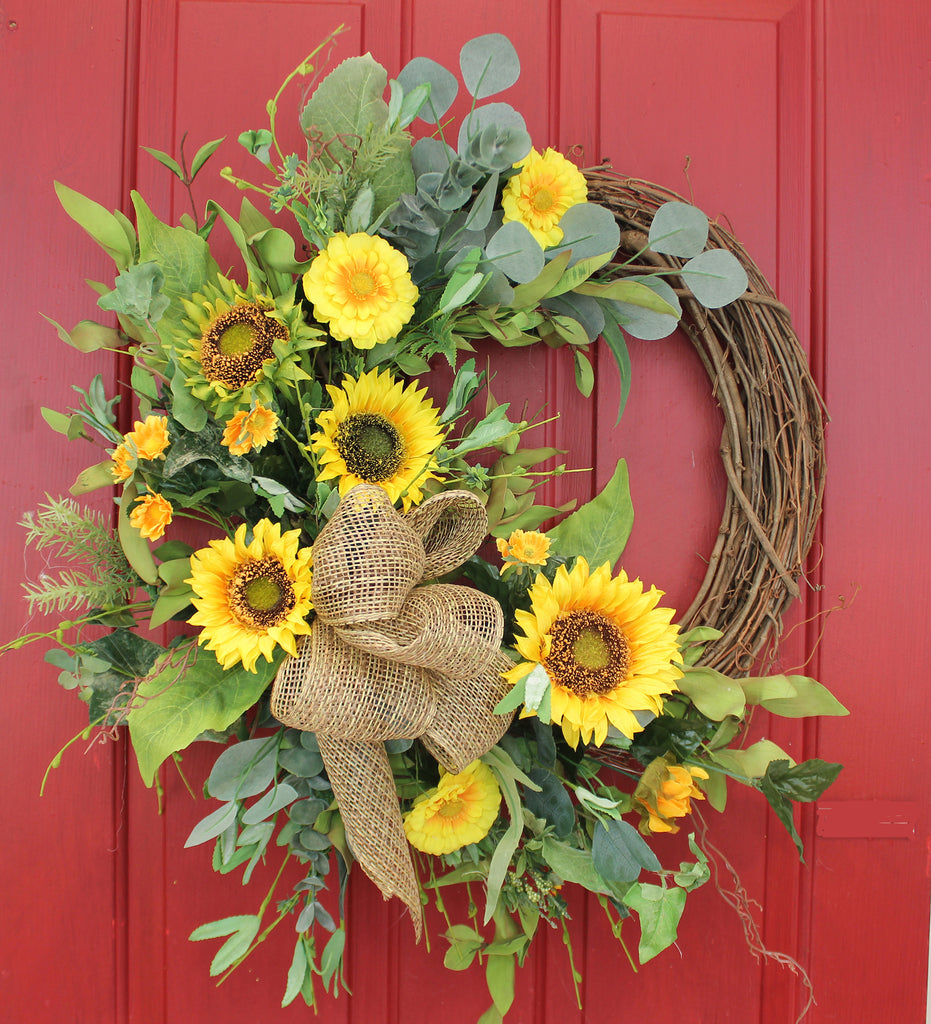Sensational Sunflowers Grapevine and Silk Front Door Wreath – 22""
