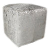 Add style and function to your home with ourSilver Acid Wash Designer Cowhide Cube Pouf Stool Ottoman
