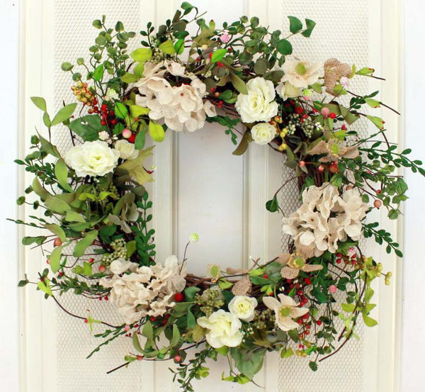 Delicate and lovely is our Simplicity of Beige Decorative Front Door Wreath (23 inch)
