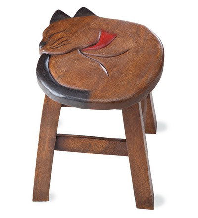 Sleeping Kitty Handcrafted Wood Stool Footstool
