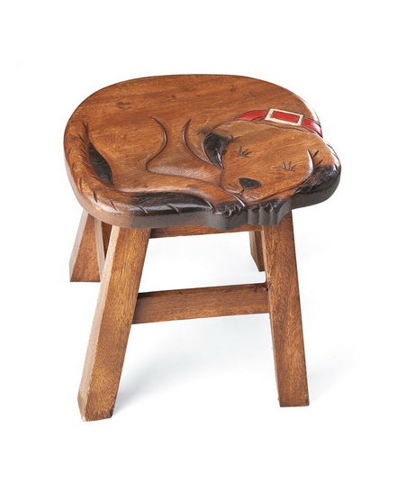 Sleeping Dog or Cat Hand Carved and Hand Painted Wood Footstool