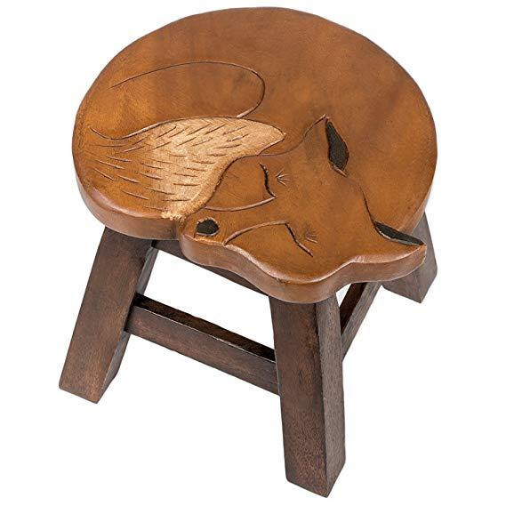 Our Sleeping Fox Handcrafted Wood Stool Footstool features beautiful carved detail and sturdy for aduts and children
