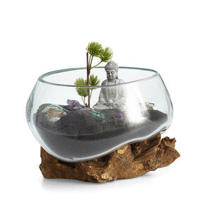 "Our Small Hand Blown Molten Glass and Wood Root Sculptured Succulent Bowl Terrarium (7""x7"") is shown with a succulent garden and contents are not included"