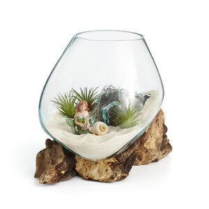 "Our Small Hand Blown Molten Glass and Wood Root Sculptured Terrarium / Vase / Fish Bowl (9""x8"") shown in our bleached wood color. This item is also available in dark wood color."