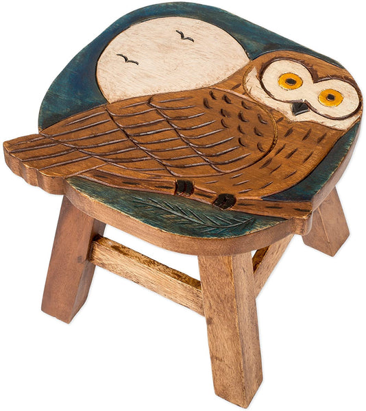 Our Snow Owl Handcrafted Wood Footstool has been beautifully hand carved, painted and stained with amazing detail