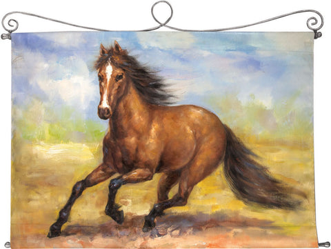 Beautifully hand painted is our Spirited Horse Hand Painted Canvas Wall Art with Iron Topper