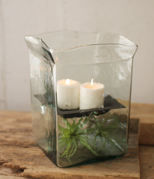 Extra Large Square Recycled Glass Hurricane Fillable Candle Holder Vase Terrarium
