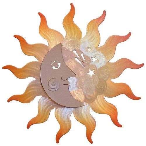 Our Sunburst and Crescent Moon Metal Indoor Outdoor Wall Art is made in the USA and available in 2 sizes. It is powder coated for outdoor use or indoor use and it captures the artist's creative beauty of the sun and moon all in one magnificent wall hanging.