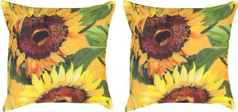 Sunflower Indoor/Outdoor Weather Resistant Fabric Pillows (set of 2)