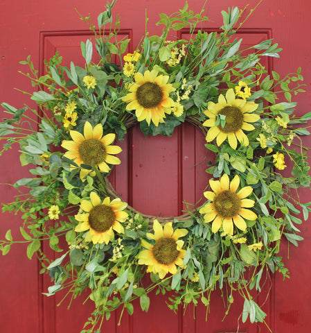 "Our Sunsational Sunflowers Wispy Silk Front Door Wreath – 22"" features lots of yellow sunflowers and greenery and great for many seasons of color"