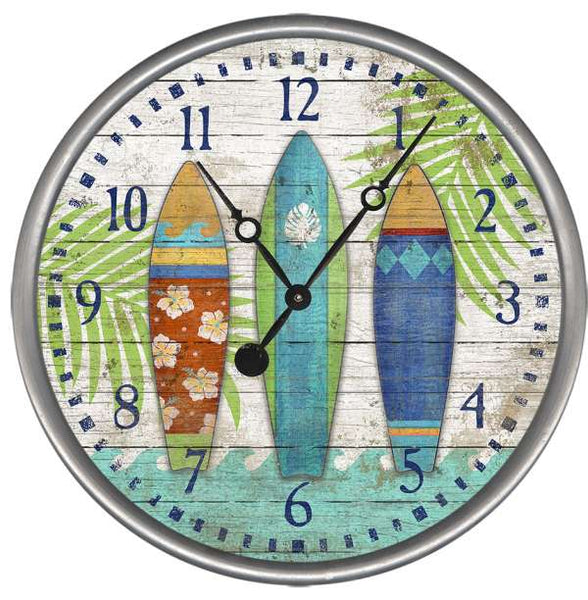 Our Surfside Surfboards Wood and Metal Wall Clock will add fun, color and function to your home or business