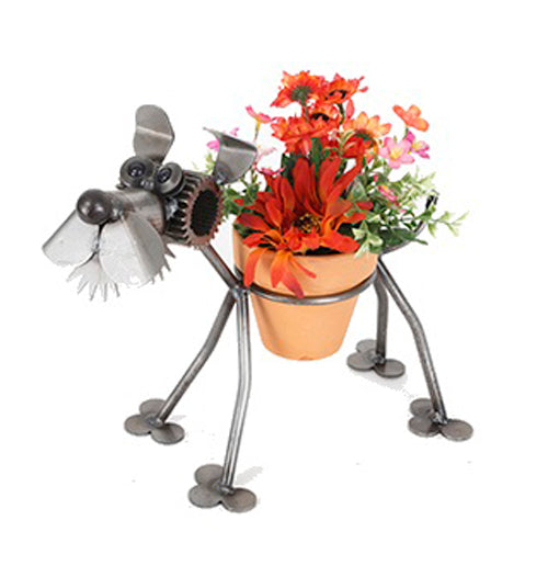 Terrier Dog Recycled Scrap Metal Statuary And Potted Plant Holder Made In The Usa
