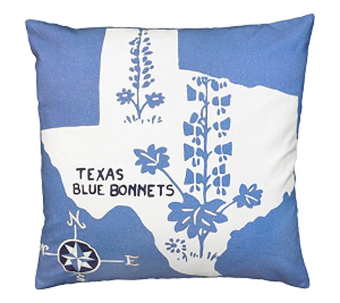 "Add a fun pillow to your Texas home with our Texas Blue Bonnets Cotton Embroidered Pillow (20""x20"")"