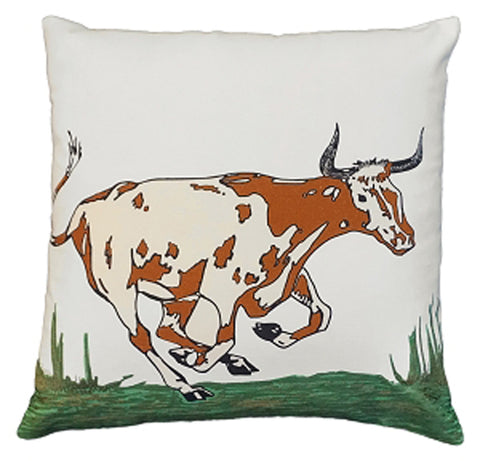 "Add a bit of wild to your home with our Texas Longhorn Cotton Embroidered Pillow (20""x20"")"