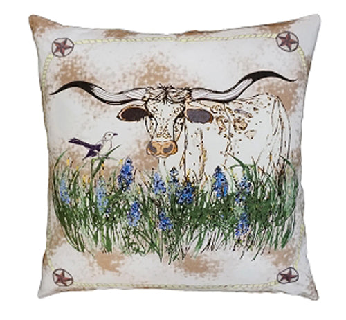 "Add style and function to your home or ranch with our Texas Longhorn in the Blue Bells Cotton Embroidered Pillow (20""x20"")"