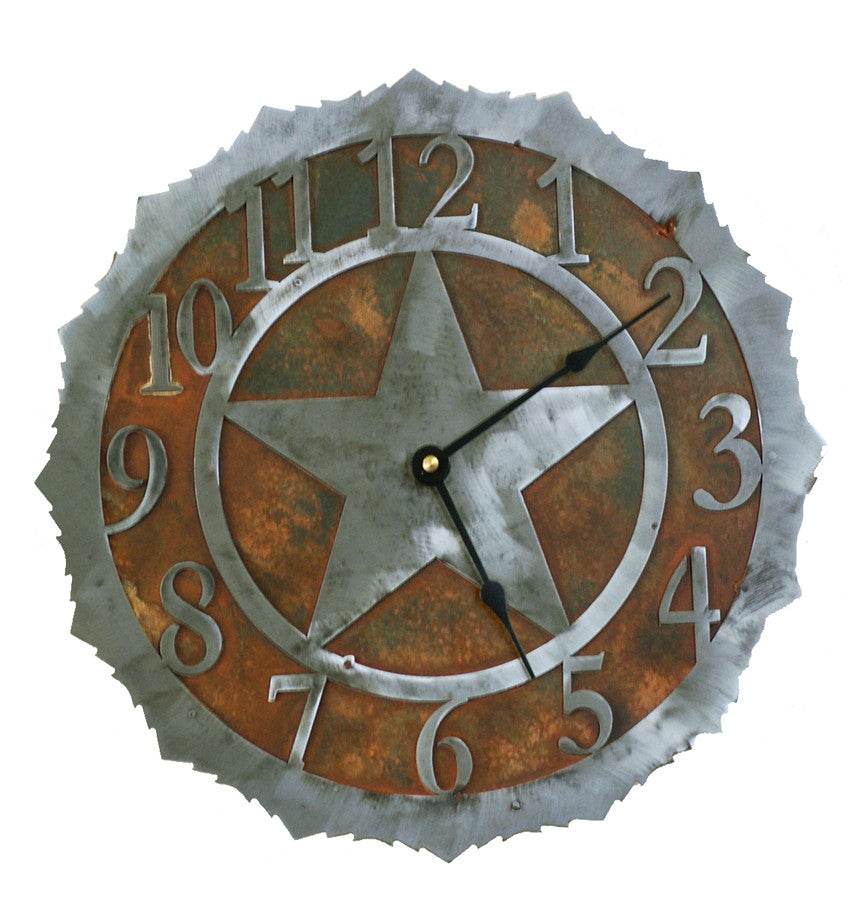 Texas Star Handcrafted Metal Wall Clock - 12 inch