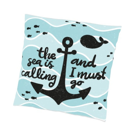 "No better way to express yourself than with our The Sea Is Calling And I Must Go Reversible Indoor Outdoor Pillow – 18"" (Set of 2)… great for the pool, the beach, the hammock, and they are waterproof and mildew proof."