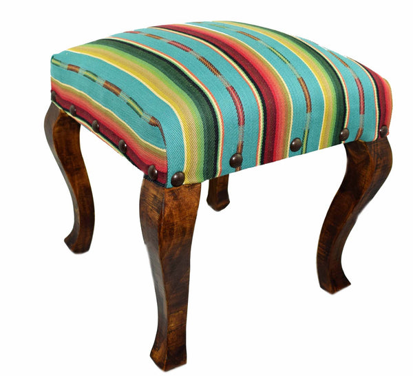 "Our Turquoise Serape Striped Upholstered Fabric Square Stool Bench (18"") is great for in home use and handcrafted in the USA"
