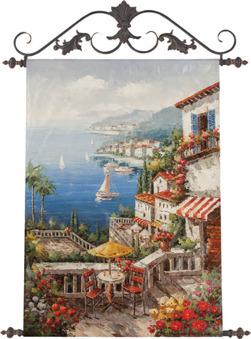 Villa By the Sea Hand-Painted Canvas Wall Art with Ornate Scrolled Iron Topper