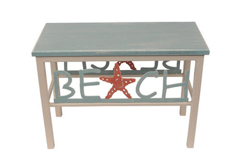 "Add style and function to your nautically inspired home with our Weathered Grey BEACH Bench with Starfish (24"")"