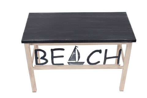 "Add style and function to your nautically inspired home with our Weathered Navy Blue BEACH Bench with Sailboat (24"")"
