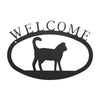 "Welcome Sign With Cat Silhouette is handcrafted here in the USA and it has been powder coated for weather resistant indoor and outdoor use. It features the silhouette of a cat in the center.  It is available in two sizes 11-3/8"" wide  x 7-7/8"" high and 17-1/2"" wide x 12-½"" high"