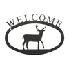 "Our Welcome Sign With Deer Silhouette is handcrafted here in the USA and it has been powder coated for weather resistant indoor and outdoor use. It features the silhouette of a deer in the center and is available in two sizes 11-3/8"" wide  x 7-7/8"" high and 17-1/2"" wide x 12-½"" high."