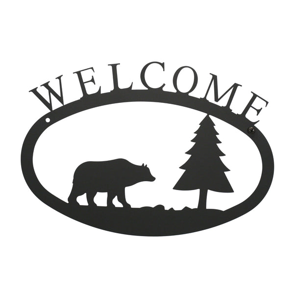 "Our Welcome Sign With Bear and Pine Tree Silhouette is handcrafted here in the USA and it has been powder coated for weather resistant indoor and outdoor use. It features the silhouette of a bear and pine tree in the center and is available in two sizes 11-3/8"" wide  x 7-7/8"" high and 17-1/2"" wide x 12-½"" high."