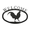 "Our Welcome Sign With Rooster Silhouette is handcrafted here in the USA and it has been powder coated for weather resistant indoor and outdoor use. It features the silhouette of a rooster in the center and is available in two sizes 11-3/8"" wide  x 7-7/8"" high and 17-1/2"" wide x 12-½"" high"