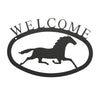 "Welcome Sign With Running Horse Silhouette is handcrafted here in the USA and it has been powder coated for weather resistant indoor and outdoor use. It features the silhouette of a running horse in the center.  It is available in two sizes 11-3/8"" wide  x 7-7/8"" high and 17-1/2"" wide x 12-½"" high"