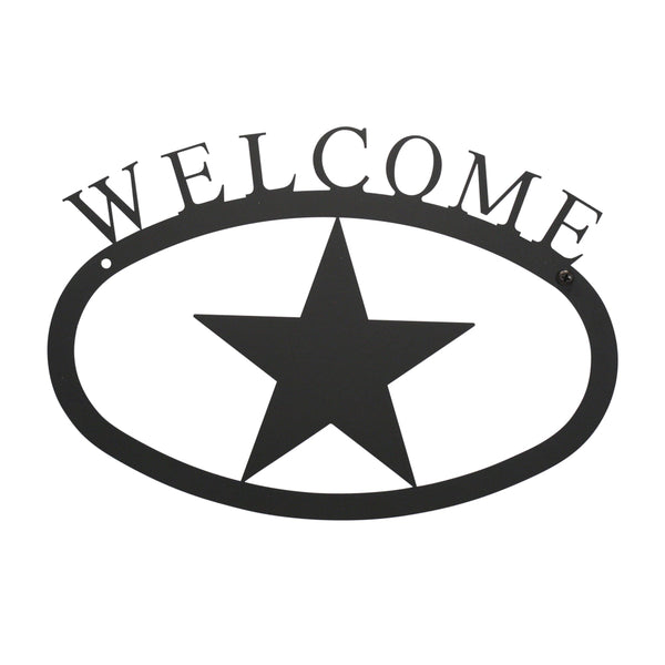 "Our Welcome Sign With Texas Star Silhouette is handcrafted here in the USA and it has been powder coated for weather resistant indoor and outdoor use. It features the silhouette of a Texas Star in the center and is available in two sizes 11-3/8"" wide x 7-7/8"" high and 17-1/2"" wide x 12-½"" high."
