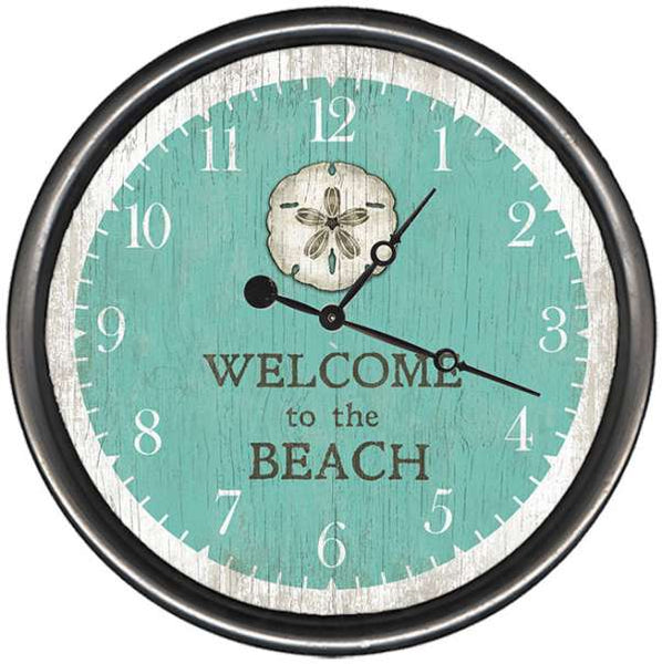 "Welcome to the Beach Sand Dollar Wood and Metal Wall Clock (15"")"
