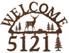 Our Deer Handcrafted Metal Welcome Address Sign is great for your cabin or home and you can customize it with hanging numbers and symbols of your choice