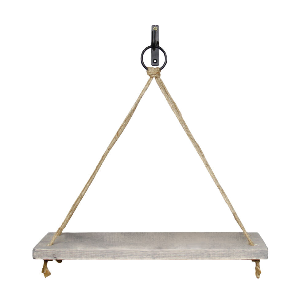 Our Wood and Rope Hanging Wall Shelf features simple triangle rope with grey finished wood that hangs from included wall hardware. It measures 15.25