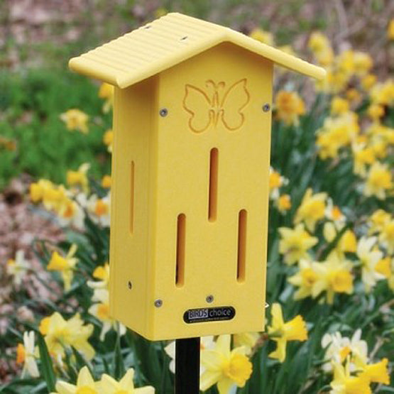 Yellow Poly Lumber Butterfly House with Pole Mount