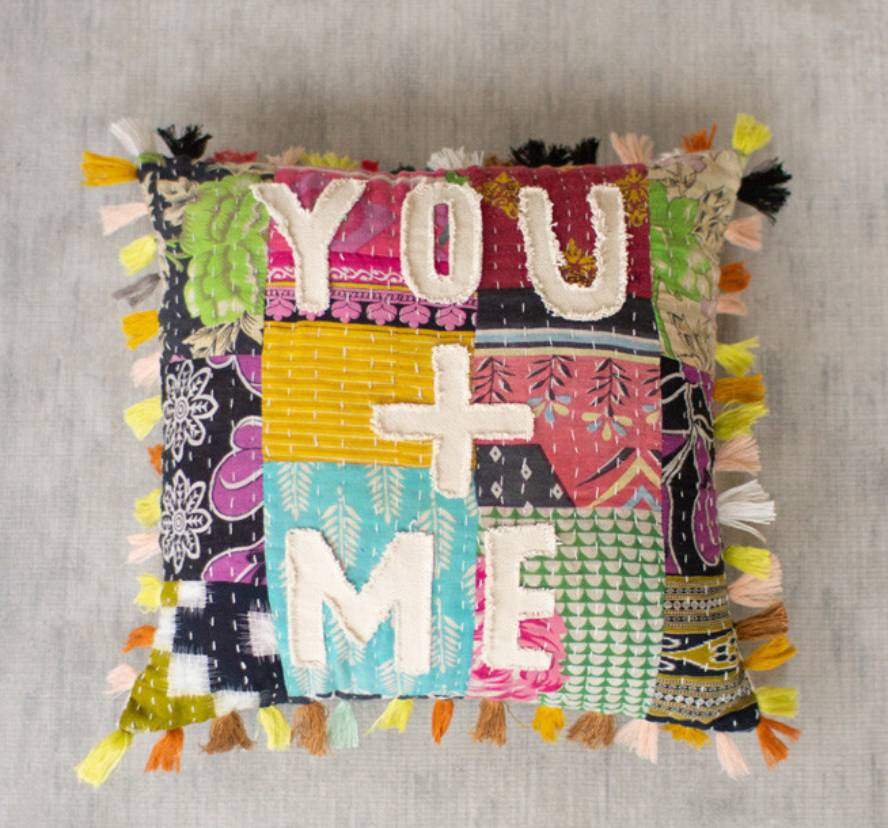 Add color and style to your home with our handcrafted to perfection, You And Me Patchwork Word Throw Pillow