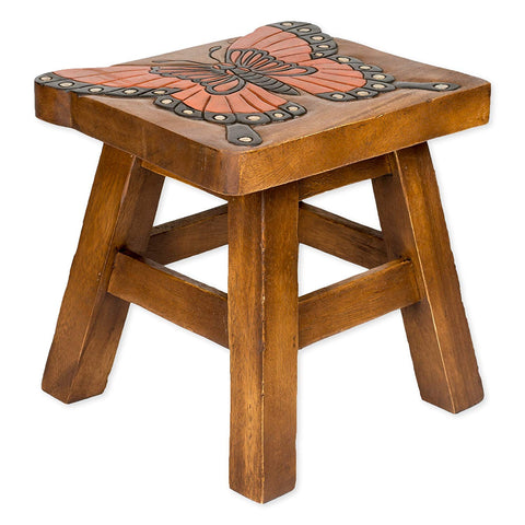 Monarch Butterfly Handcrafted Wood Stool Footstool