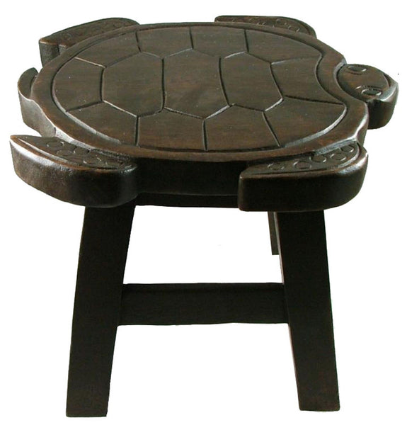Sea Turtle Hand Carved Wood Footstool in Dark Stain Finish