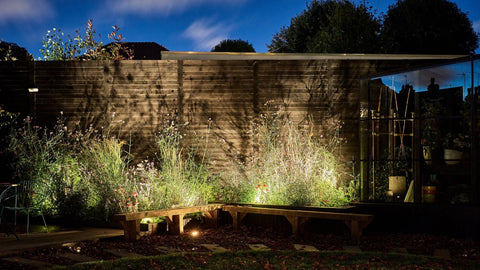 Low voltage outdoor and garden lights. Creative lighting technique with spotlighting in garden space.